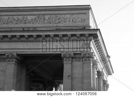 Fragment of Kazan Cathedral in St.Petersburg Russia. Black and white.