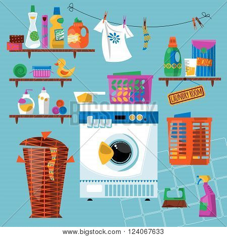 Laundry room with washing appliances and accessories. Vector illustration