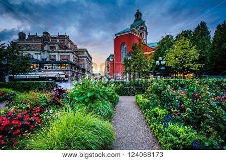 Gardens At Kungsträdgården, And St. Jacobs Kyrka In Norrmalm, Stockholm, Sweden.