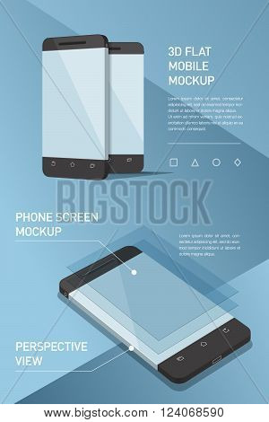 Minimalistic flat illustration of mobile phone. perspective view. Mockup generic smartphone. Template for infographics or presentation UI design. Concepts graphic design UI UIX web banner printed materials