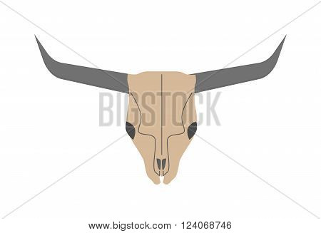 Old bull skull western buffalo and rodeo bull skull. Skull of dead horned bull. Cow skull wild west dead head. Traditional ethnic bull skull. Animal head skull of wild bull flat vector illustration.