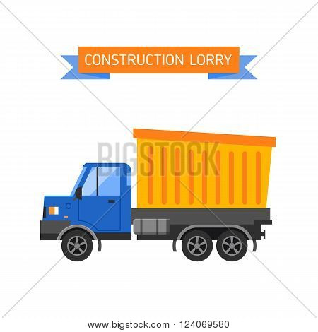 Delivery tipper truck transportation construction vehicle and road tipper truck machine equipment. Tipper dumper business truck transportation sand. Tipper yellow truck construction industry vector illustration.