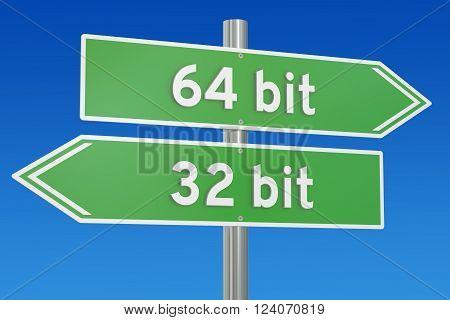 32-bit vs 64-bit concept, 3D rendering on signpost poster