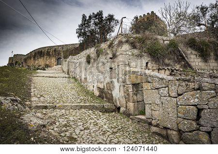 ancient castle - Castle staircase in Celorico da Beira town, Guarda, Portugal