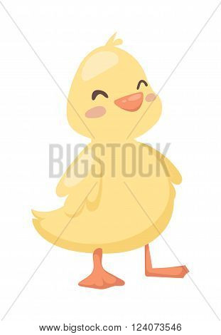 Duck cute toy farm and nice pet animal yellow duck. Water game yellow young duck. Little colorful cartoon duck. Duck toy cartoon yellow character flat vector.