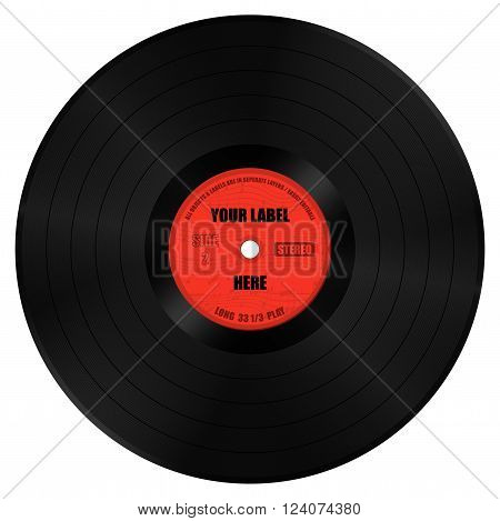 Vector Illustration of Vinyl Record Long Play. All objects are in seperate layers. Downloader can easily change the label.