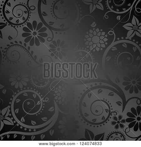 black background with floral ornaments - vector illustration