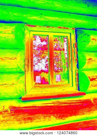 Detail Of Beams In Cabin Wall. Traditional Construction Of Wooden House In  Thermography Scan.