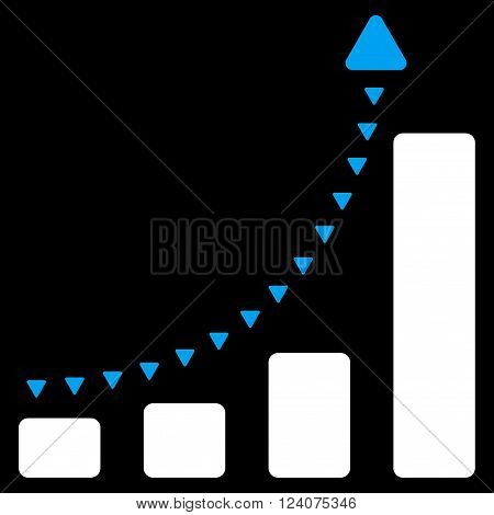 Bar Chart Positive Trend vector icon. Bar Chart Positive Trend icon symbol. Bar Chart Positive Trend icon image. Bar Chart Positive Trend icon picture. Bar Chart Positive Trend pictogram.