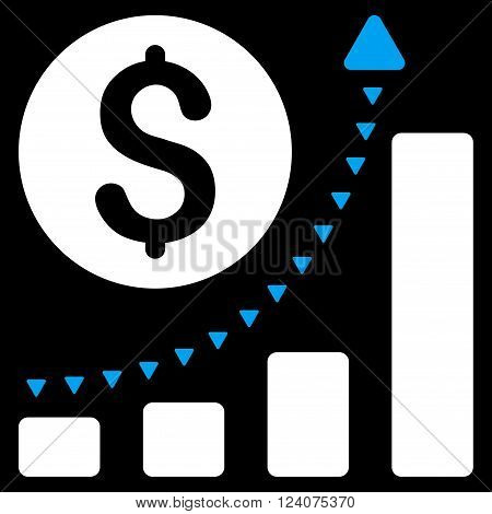 Business Bar Chart Positive Trend vector icon. Business Bar Chart Positive Trend icon symbol. Business Bar Chart Positive Trend icon image. Business Bar Chart Positive Trend icon picture.