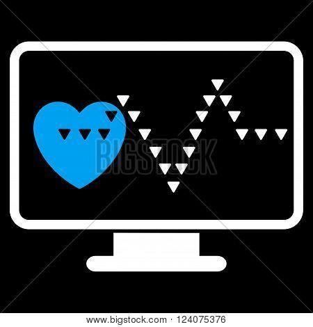 Cardio Monitoring vector icon. Cardio Monitoring icon symbol. Cardio Monitoring icon image. Cardio Monitoring icon picture. Cardio Monitoring pictogram. Flat blue and white cardio monitoring icon.