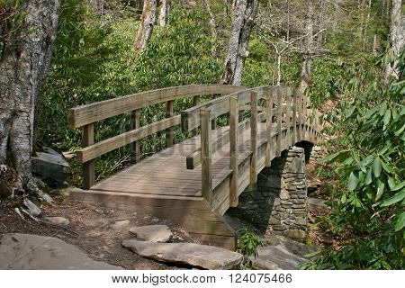 an arched wooden bridge crossing a stream on a hiking trail