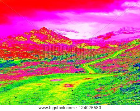 Spring mountains in infrared photo. Amazing thermography. Hilly landscape in background.