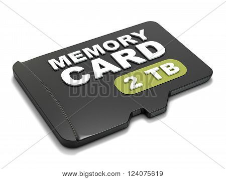 MicroSD memory card front view 2 TB. 3D render illustration isolated on white background