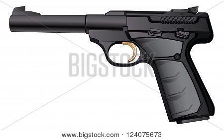 Illustration of a modern black semi-automatic 22 Caliber pistol.