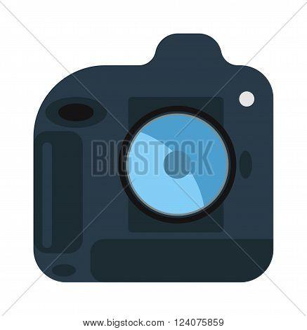 Modern photo camera on tripod and digital film photo camera on tripod. Pink tripod. Flat photo camera shutter creative optical classic cam. Digital flat photo camera on tripod technology vector.