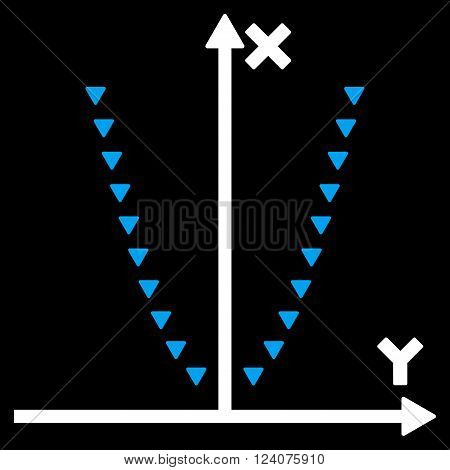Dotted Parabola Plot vector icon. Dotted Parabola Plot icon symbol. Dotted Parabola Plot icon image. Dotted Parabola Plot icon picture. Dotted Parabola Plot pictogram.