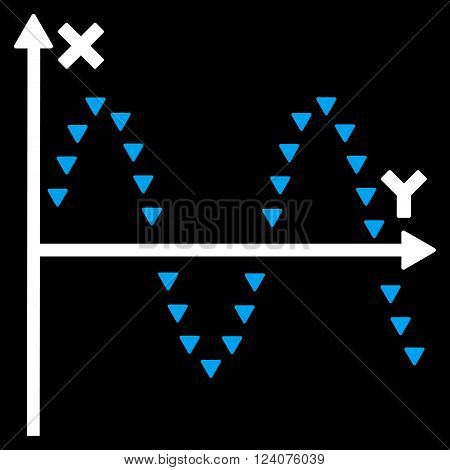 Dotted Sine Plot vector icon. Dotted Sine Plot icon symbol. Dotted Sine Plot icon image. Dotted Sine Plot icon picture. Dotted Sine Plot pictogram. Flat blue and white dotted sine plot icon.
