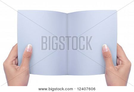 Hand Holding white blank book