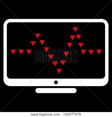 Monitor Dotted Pulse vector icon. Monitor Dotted Pulse icon symbol. Monitor Dotted Pulse icon image. Monitor Dotted Pulse icon picture. Monitor Dotted Pulse pictogram.