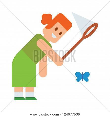 Curious little girl holding butterfly net in hands and fun summer girl with butterfly net. Outdoors catch butterflies with net. Girl tries catch butterflies with net cute cartoon vector.