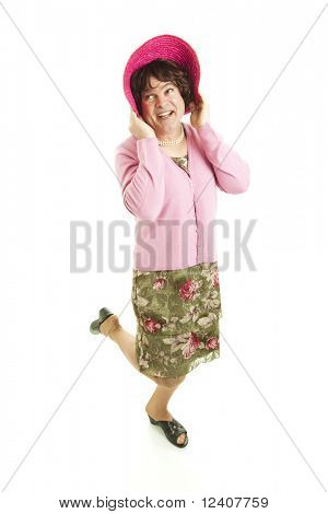 Humorous photo of a man dressed as a woman.  Full body, isolated on white.