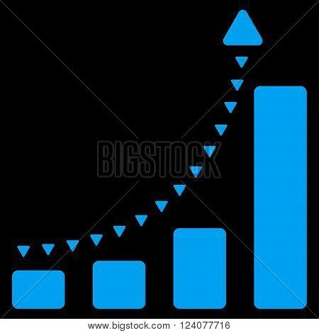 Bar Chart Positive Trend vector icon. Bar Chart Positive Trend icon symbol. Bar Chart Positive Trend icon image. Bar Chart Positive Trend icon picture. Bar Chart Positive Trend pictogram.