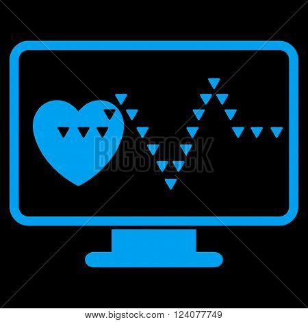 Cardio Monitoring vector icon. Cardio Monitoring icon symbol. Cardio Monitoring icon image. Cardio Monitoring icon picture. Cardio Monitoring pictogram. Flat blue cardio monitoring icon.