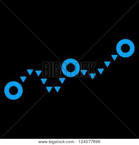 Dotted Chart vector icon. Dotted Chart icon symbol. Dotted Chart icon image. Dotted Chart icon picture. Dotted Chart pictogram. Flat blue dotted chart icon. Isolated dotted chart icon graphic.
