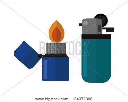 Blue little lighter and burning green lighter. Hot lighters, bright flammable lighters. Plastic lighter blaze object vector. Vector burning lighters.