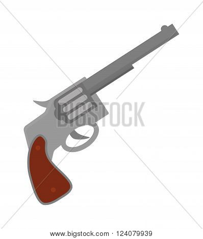 Pistol gun fire security bullet and ammunition protection metal pistol gun. Criminal arm pistol gun and danger military weapon. Weapon series vintage wild west army handgun military pistol gun vector.