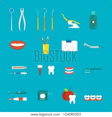 Tooth care icons surrounded toothbrushes and tooth care icons toothy smile. Toothpaste floss tooth care. Dental hygiene medical concept flat style with cross section healthy tooth care icons vector.