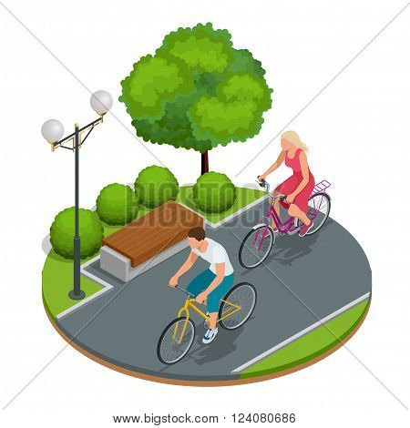 Bikers in park. Cycling on bike path. Weekend excursion on their bikes on a summer day.  Flat 3d vector isometric illustration.People riding bikes. Bikers and bicycling. Sport and exercise