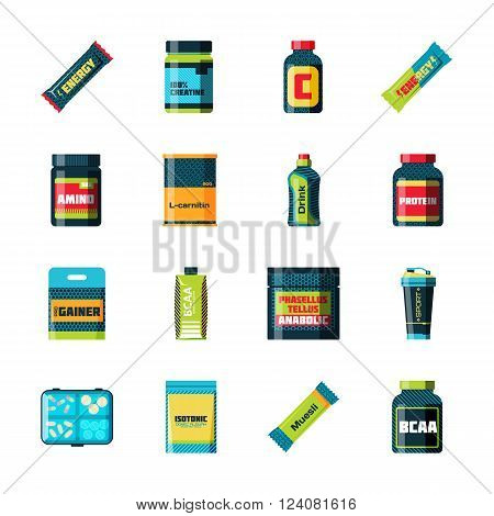 Sports nutrition food icons in flat style detailed vector illustration. Sports food nutrition healthy food and sports nutrition fitness diet. Sports nutrition food bodybuilding proteine power drink. Fresh protein.
