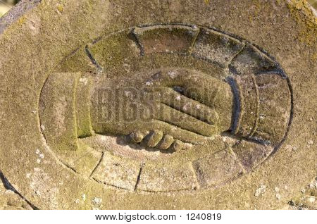 Handshake On Gravestone