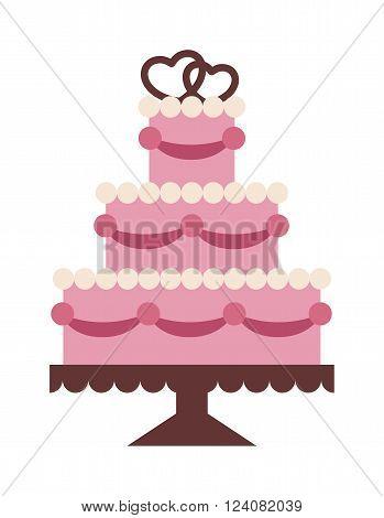 Wedding cake Isolated on background. Wedding cake vector illustration. Vactor cake cute style isolated. Wedding couple on top cake