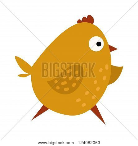 Cartoon yellow chick and running cartoon chick. Cartoon chick little character and funny small young hen animal. Cute chicken cartoon waving running yellow farm bird vector illustration.