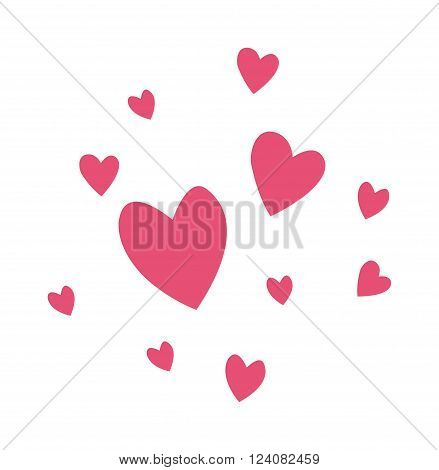 Hearts passion and romance red hearts. Greeting hearts cartoon love symbols. Hearts decoration wedding amour. Marriage love hearts vector, Set of red vector hearts love shape cartoon icons.