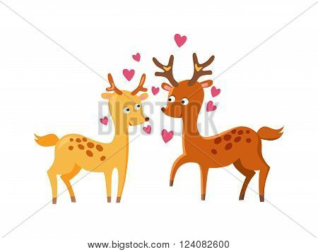 Lovely deers cartoon forest mammals amd couple lovely deers. Lovely deers romantic vintage element. Couple family deers concept. Lovely deers falling in love nature cute animal vector.