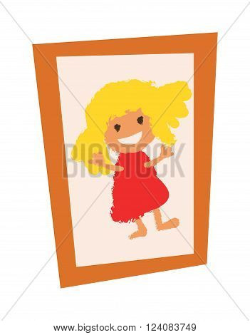 Picture photo frame design empty border and picture wall photo frame. Picture photo frame wall painting decoration square decorative vector. Wooden vintage picture photo frame with girl flat vector.