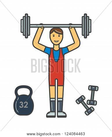 Strong bodybuilder athlete with perfect  shoulders, biceps athlete. Athlete training healthy sport muscular action. Handsome power athletic man in training pumping up muscles with dumbbell vector.