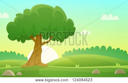 Sunset at meadow with tree, countryside cartoon landscape illustration.