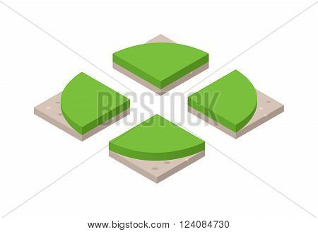 Isometric 3d land agriculture landscape and isometric 3d land lawn tree concept. Isometric section earth field. 3d illustration of isometric land cross section of ground with grass isolated vector.
