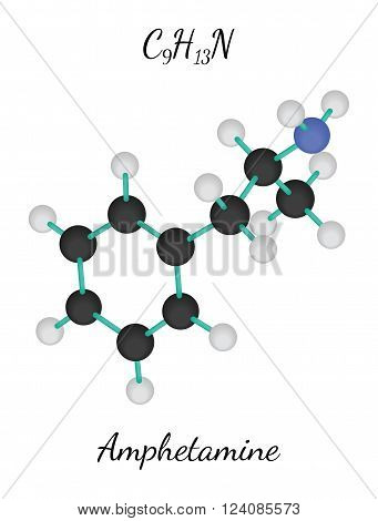 C9H13N amphetamine 3d molecule isolated on white