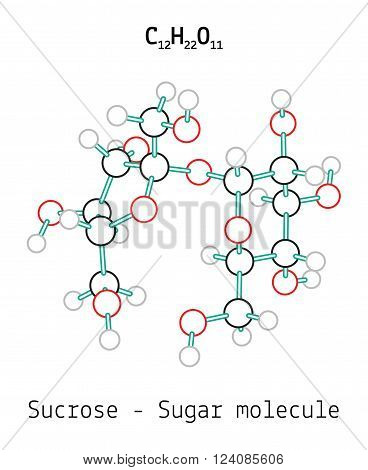 C12H22O11 Sucrose 3d Sugar molecule isolated on white