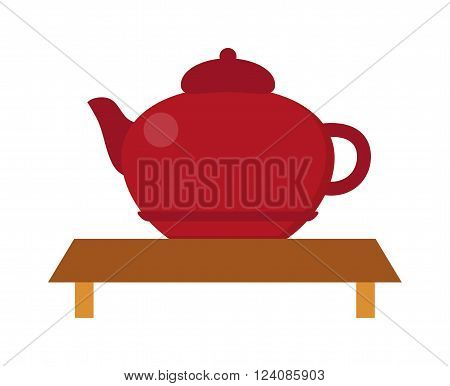 Chinese tea vector symbols. Traditional eastern teapot and teacups on white background. Teapot vector icon. Teapot for tea drink time. Vector cute teapot
