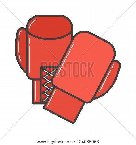 Pair of red boxing gloves vector illustration. Hanging boxing gloves isolated on white background. Boxing gloves sport equipment. Boxing gloves leather protection. Boxing gloves.