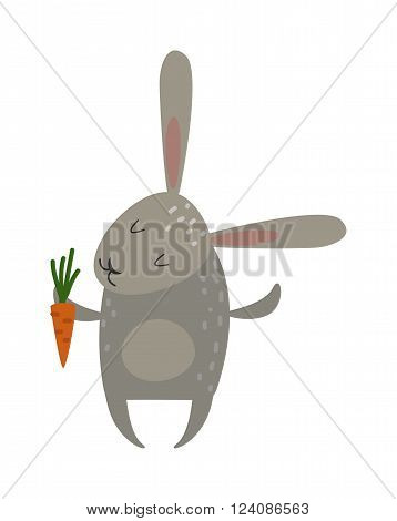 Greeting card rabbit bunny with carrot vector illustration.. Funny bunny easter rabbit. Easter Bunny greeting card. Easter vector icons. Easter bunny cartoon flat style icons. Easter flat rabbit bunny vector