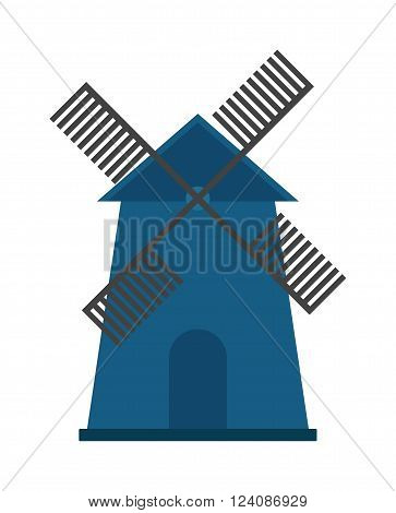 Farm windmill agriculture and old windmill. Windmill holland, energy windmill grain tower village ecology propeller. Traditional old windmill building color painted farm concept vector illustration.