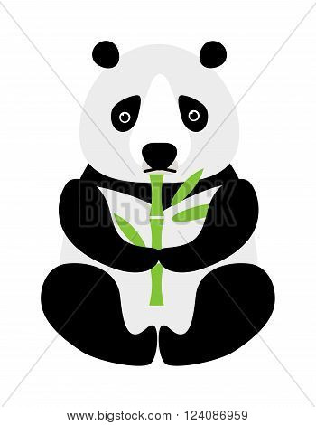 Sitting little cute cartoon panda with green bamboo and cartoon panda wildlife china bear. Asian zoo baby cheerful panda. Cartoon panda sitting and eating bamboo animal bear funny vector.